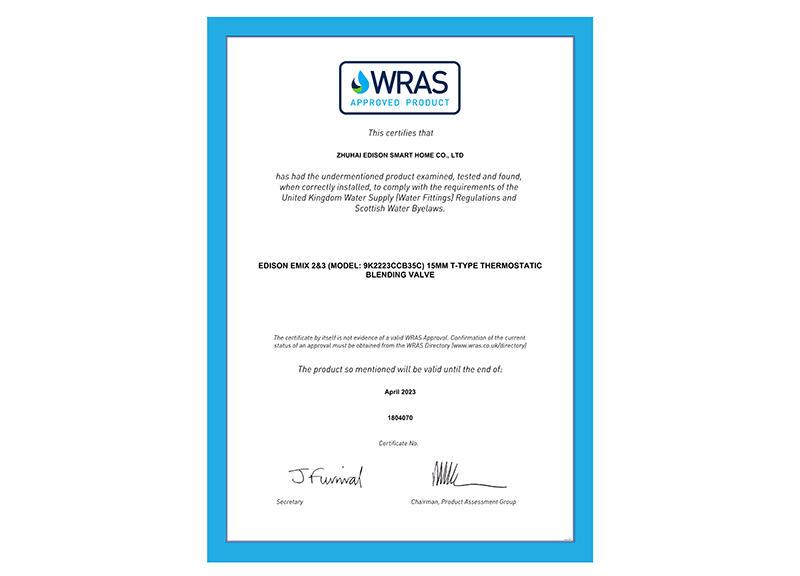 45 WRAS Certificate 1804070 certificate_28166